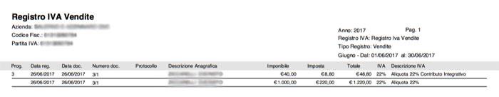 Stampa Registro IVA - Contributo Integrativo