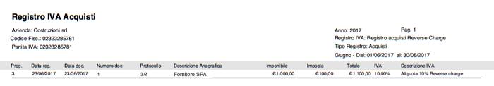 Stampa Registro Acquisti - Fattura Acquisto Reverse Charge