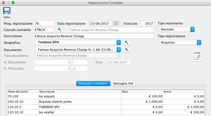 Dettaglio Contabile Registrazione Contabile - Fattura Acquisto Reverse Charge