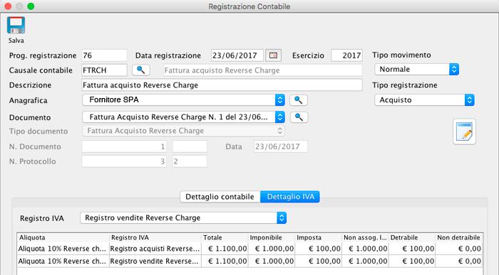 Dettaglio IVA Registrazione Contabile - Fattura Acquisto Reverse Charge