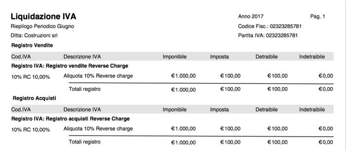 Stampa Liquidazione IVA - Fattura Acquisto Reverse Charge