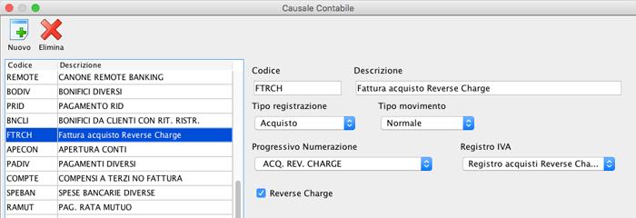 Causale Contabile - Fattura Acquisto Reverse Charge