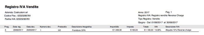 Registro IVA Vendite - Fattura Acquisto Reverse Charge